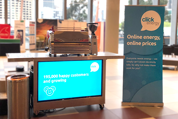 Our LCD cart showcasing one of Click Energy's customer growth numbers